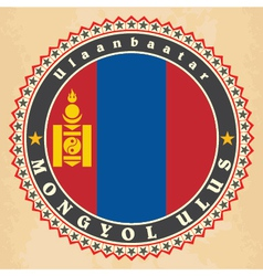 Vintage label cards of mongolia flag vector