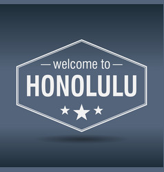 welcome to honolulu hexagonal white vintage label vector image