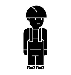 worker engineer icon black vector image