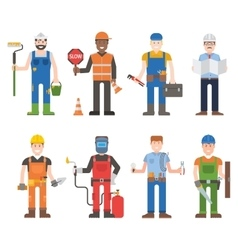 Workers man set vector image