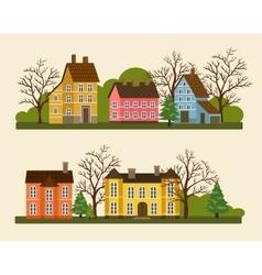 Suburban residential street in flat design vector
