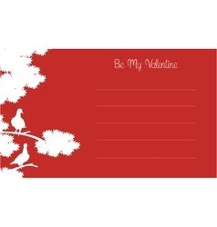 Silhouette of bird and tree valentine card vector