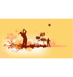 Golf silhouettes in yellow background vector
