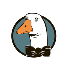 Vintage logo head goose with a bow on the vector