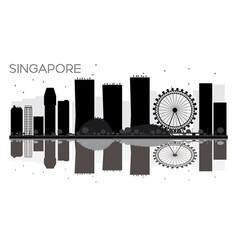 singapore city skyline black and white silhouette vector image