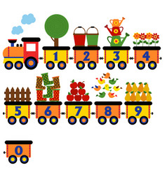 train with number of garden elements vector image