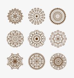 henna tattoo brown mehndi flower template doodle vector image