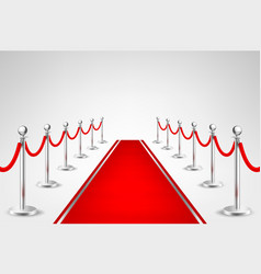 Realistic red event carpet and silver vector