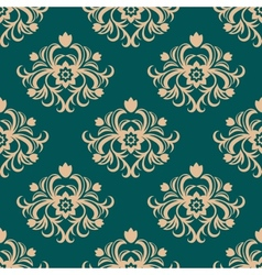 Repeat floral motifs in an arabesque pattern vector