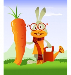 happy rabbit and giant carrot vector image