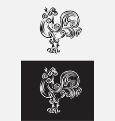 Rooster swirl outline vector