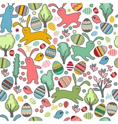 Seamless pattern with rabbits and spring trees vector