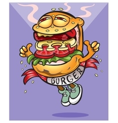 Very tasty cheerful hamburger goes to you vector