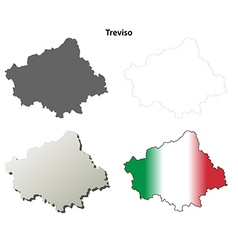 Treviso blank detailed outline map set vector