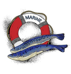 On the marine theme vector