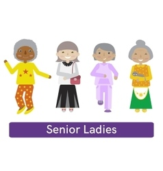 Senior woman set vector