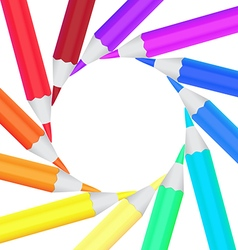 Frame of colored office pencils in a circle vector