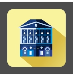 Blue building with checkered windows icon vector