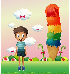 A boy standing near the big ice cream vector
