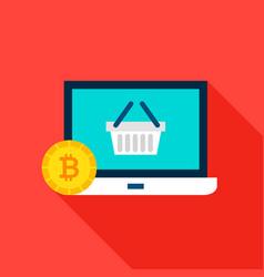 bitcoin shopping flat icon vector image
