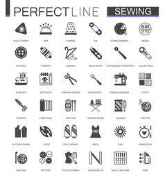 black classic sewing needlework web icons set vector image