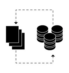Black distributed database icon image design vector
