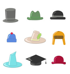 Cartoon hats collection hats and bowlers vector