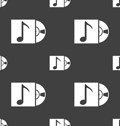 Cd player icon sign seamless pattern on a gray vector