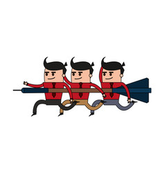 color image cartoon teamwork holding arrow to vector image vector image