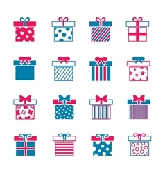 Colorful gift boxes icons set vector