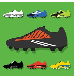 colorful soccer shoes icon set vector image