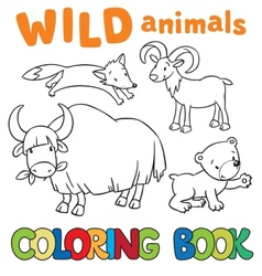 Coloring book with wild animals vector