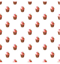 Cupcake with strawberry pattern vector