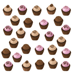 delicious cupcakes set pattern sweet dessert vector image vector image