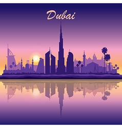 Dubai skyline silhouette on sunset background vector image
