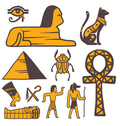 egypt travel history sybols hand drawn design vector image vector image