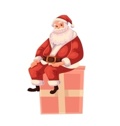 Full length portrait of Santa sitting on a gift vector image