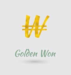 Golden won symbol vector