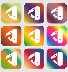 Knife picnic icon sign nine buttons with bright vector