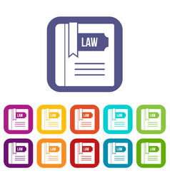 Law book icons set vector