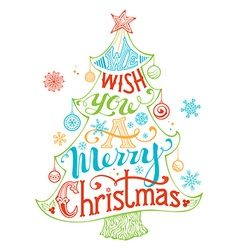 Merry Christmas Lettering inside the Christmas vector image