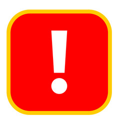 red square exclamation mark icon warning sign vector image