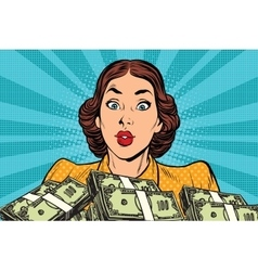 Retro girl and a lot of money vector