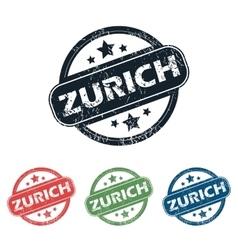 Round zurich city stamp set vector