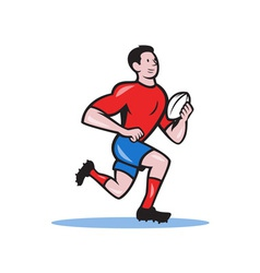 Rugby Player Running Ball Cartoon vector image vector image