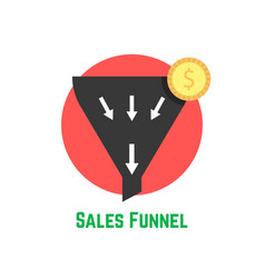 Sales funnel in red circle with coin vector