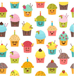 Seamless pattern with cupcakes and muffins vector