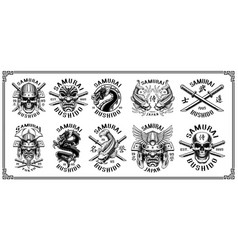 Set of samurai emblems for white background vector