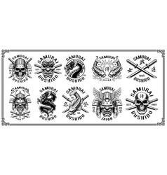 set of samurai emblems for white background vector image vector image