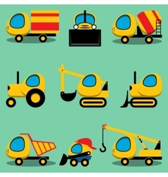 Set of toy cartoon vehicles vector